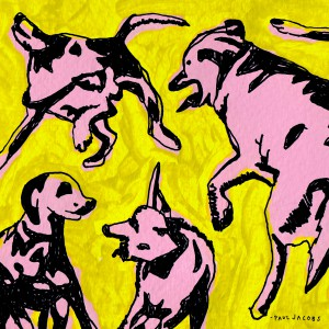 Pink Dogs On The Green Grass by Paul Jacobs
